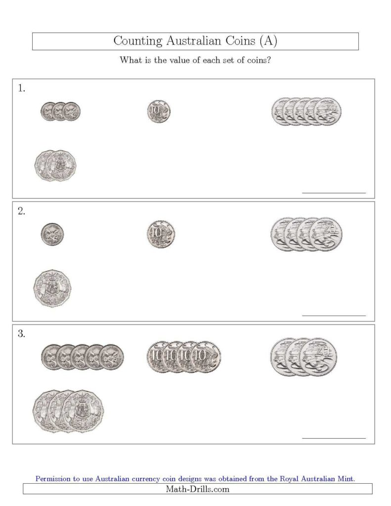Coin Values Worksheet And Counting Small Collections Of Australian