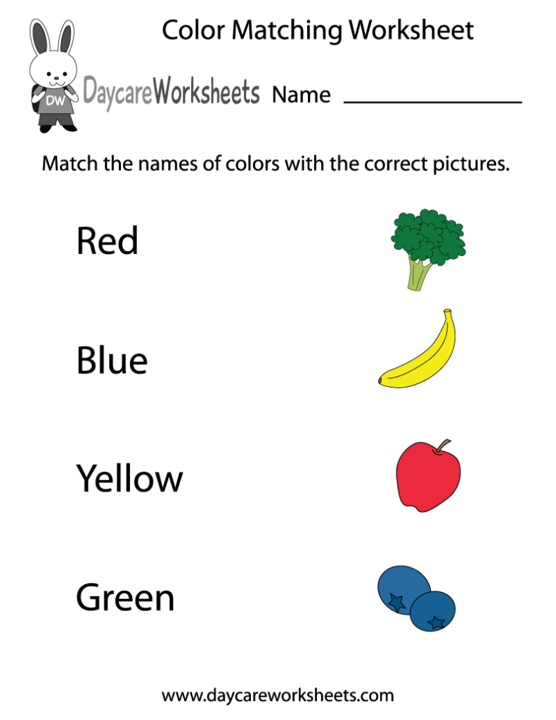 Coloring Pages  Free Preschool Color Matching Worksheet, Color
