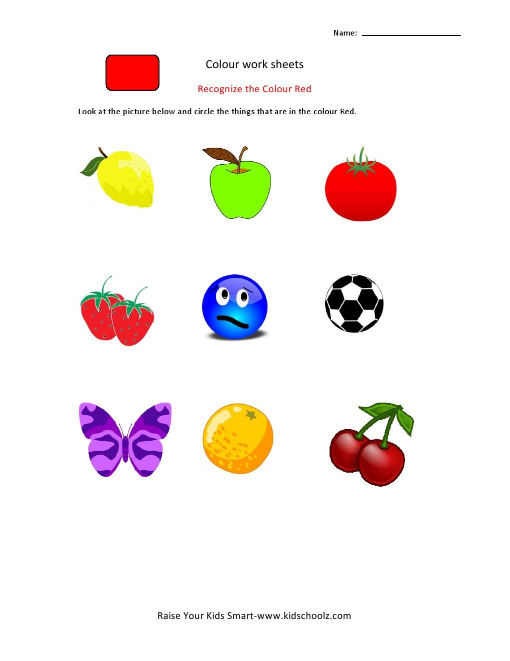 Colour Recognition Worksheets
