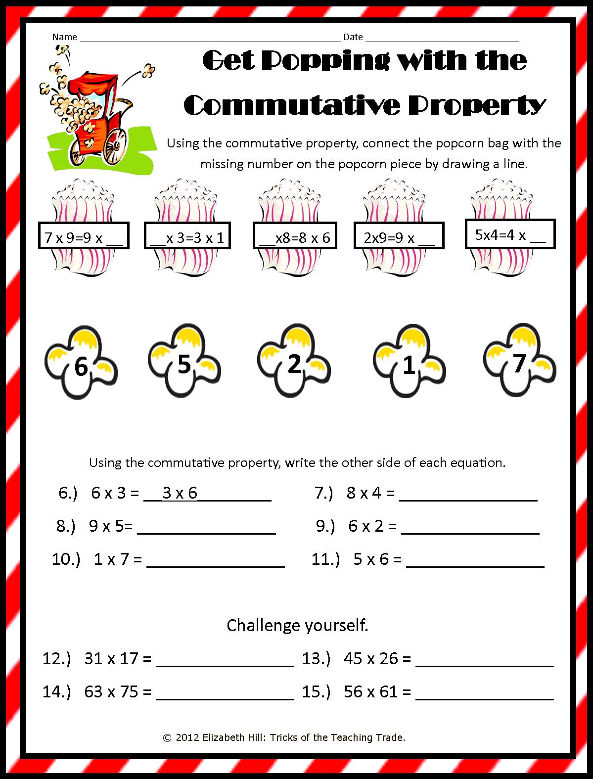 Commutative Property Of Addition Worksheets 3rd Grade Free