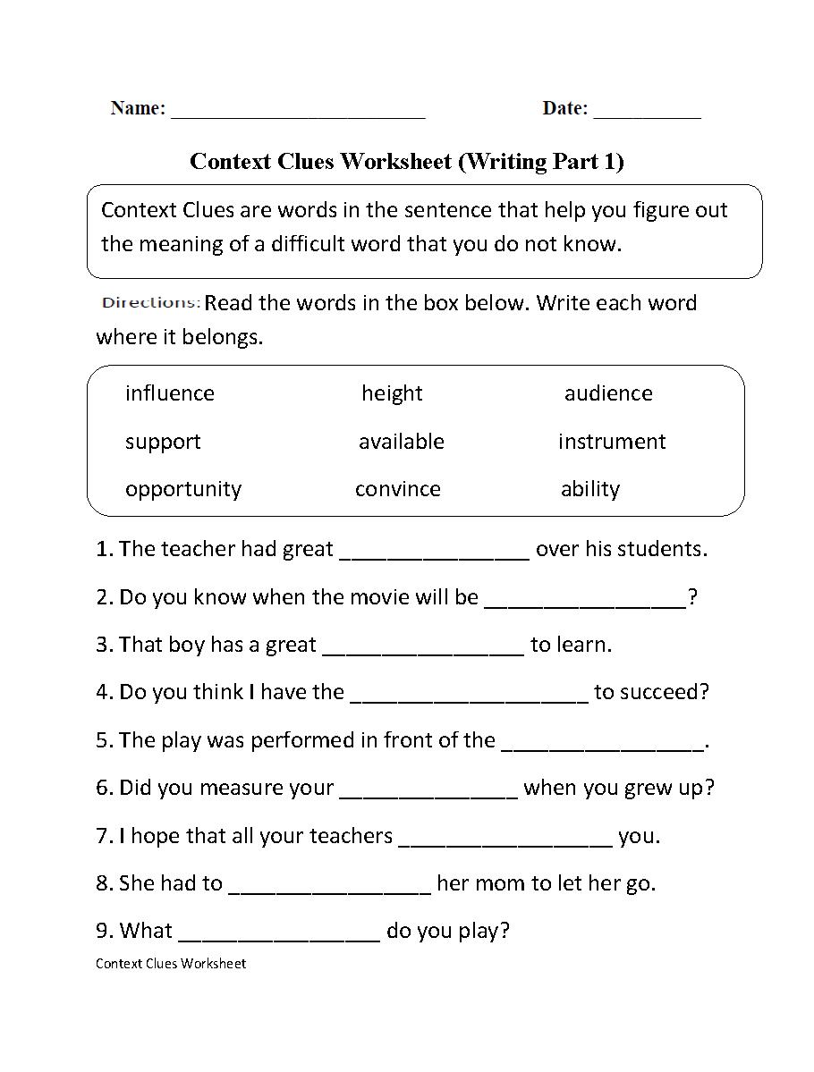 Context Clues Worksheet Writing Part 1 Intermediate
