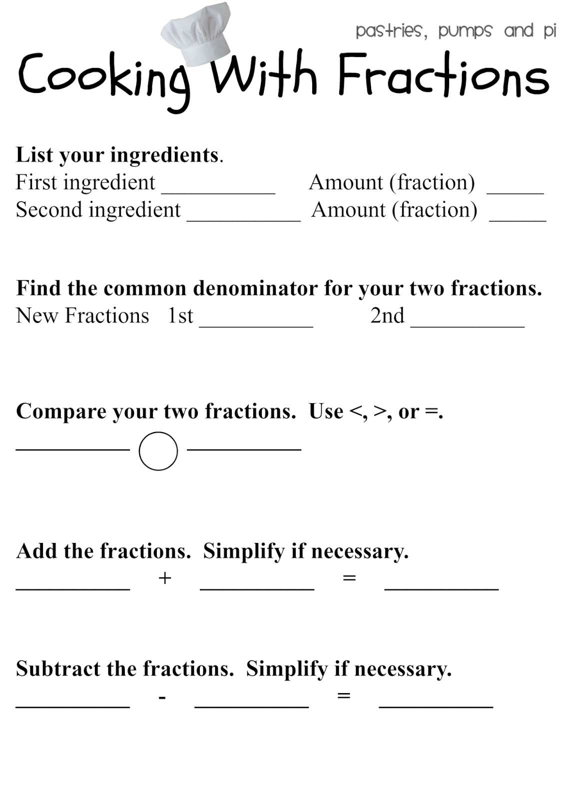 Cooking With Fractions {free Printable}