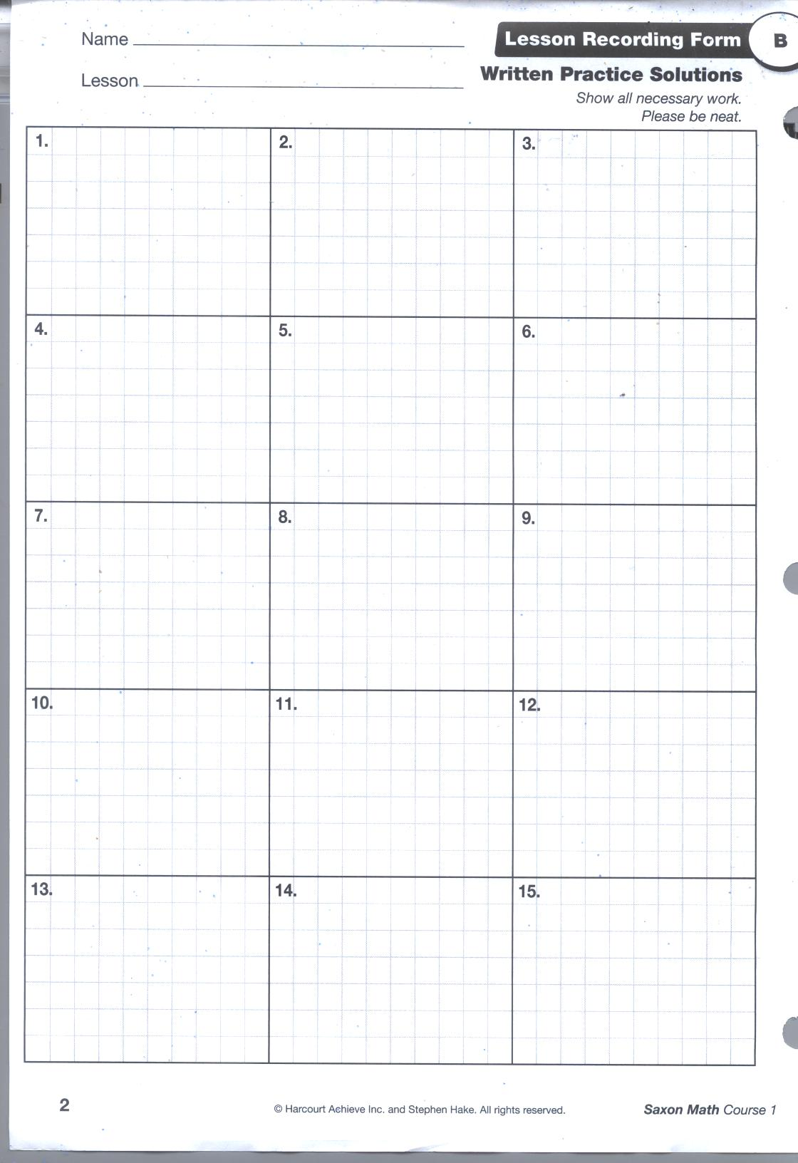 Saxon Math Worksheets