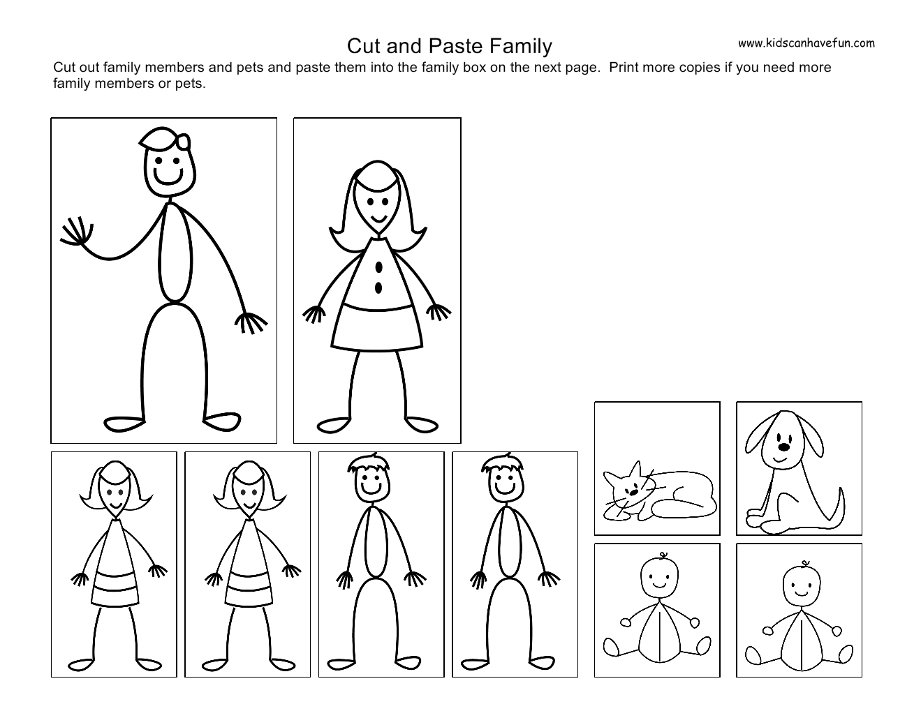 Cut And Paste Kids, Family Worksheets