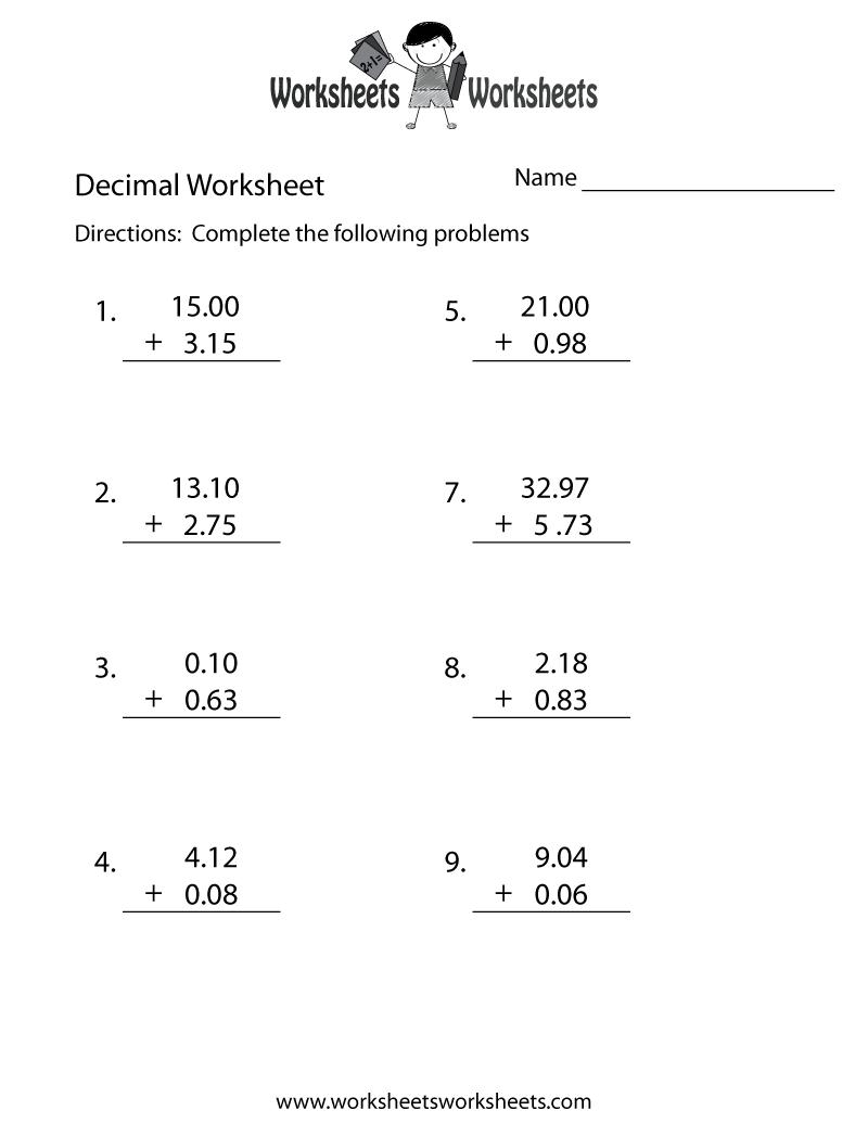 Decimal Addition Worksheet Printable