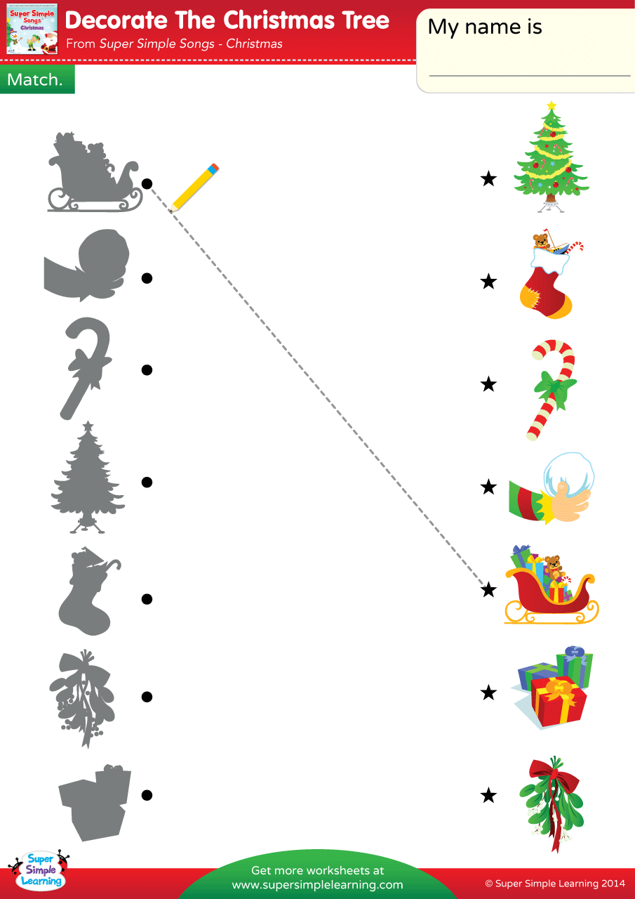 Decorate The Christmas Tree Worksheet – Match