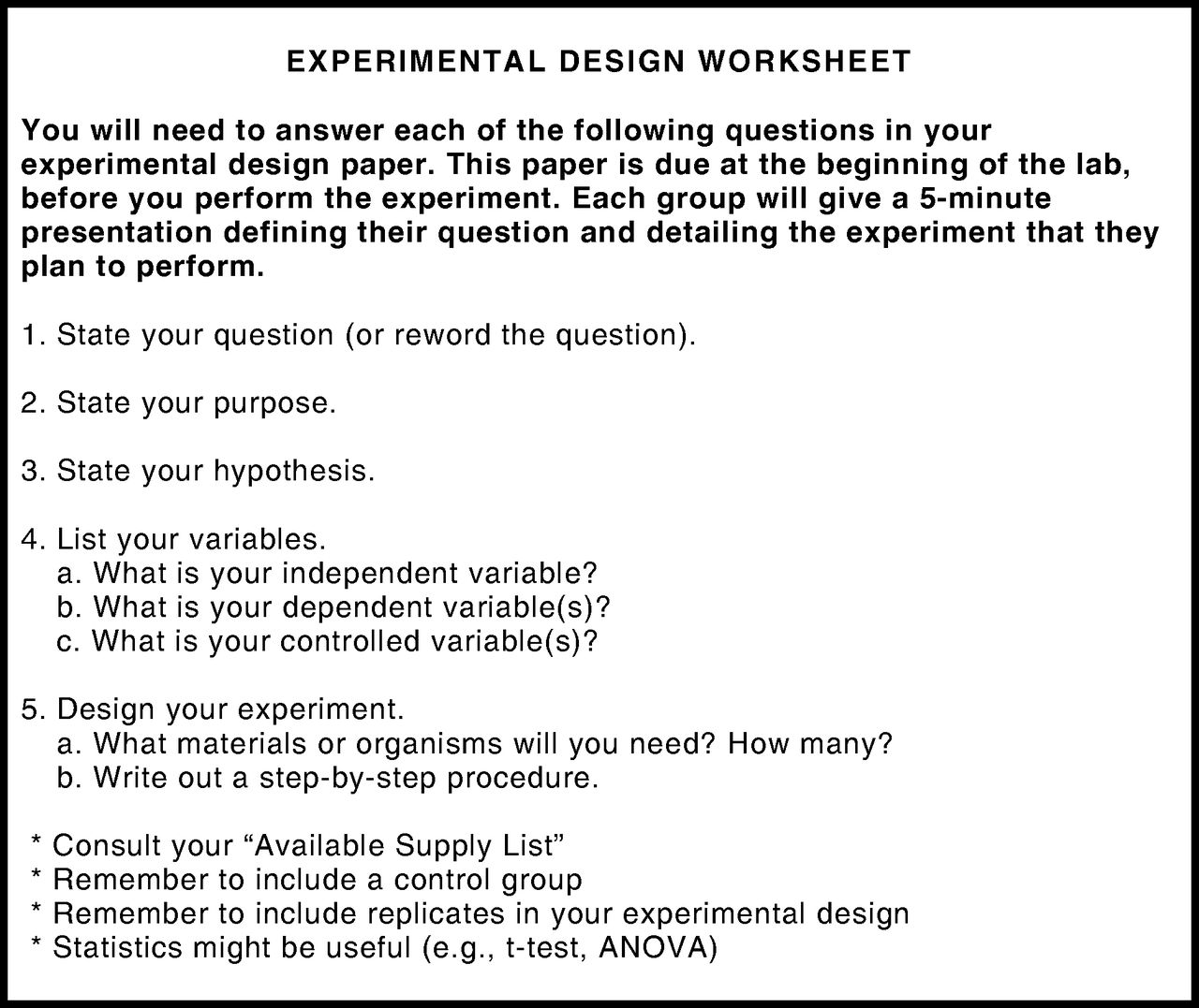 Design An Experiment Worksheet Free Worksheets Library