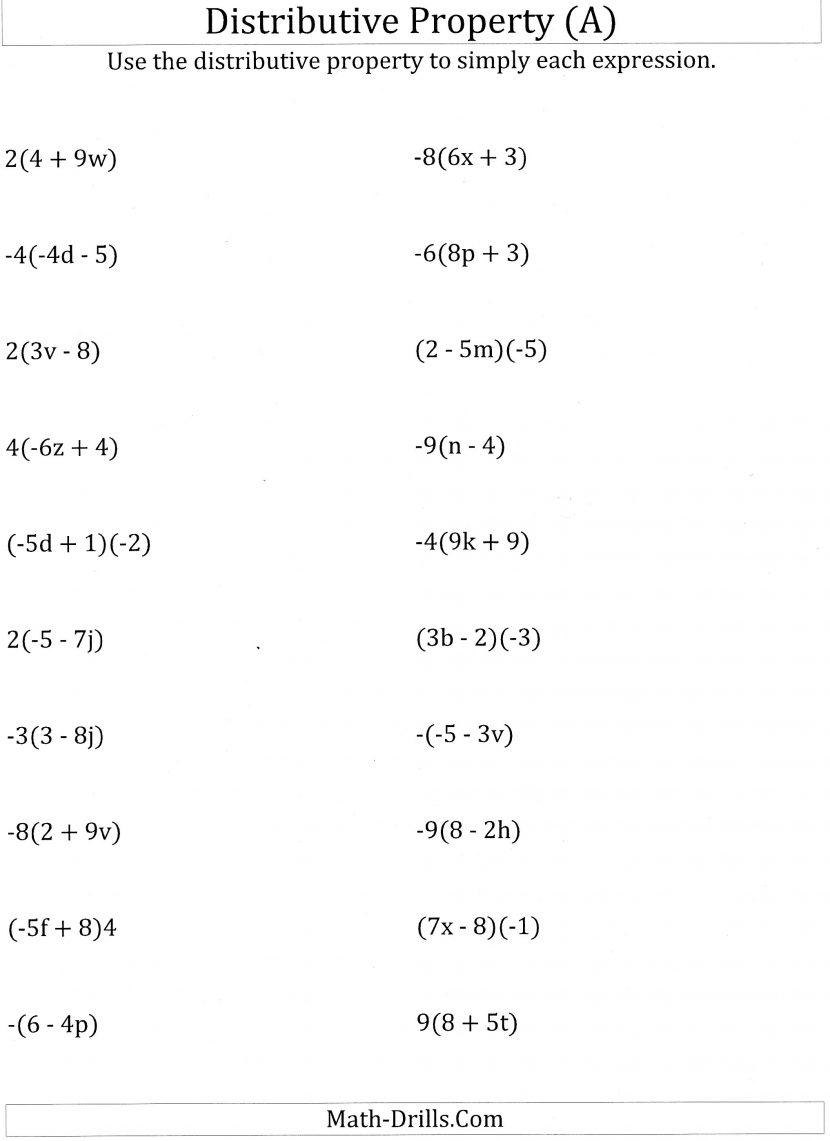 Distributive Property Worksheets 6th Grade Of Multiplication ~ Koogra