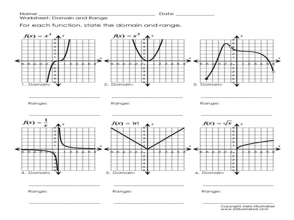 Domain And Range Of A Graph Worksheet Free Worksheets Library