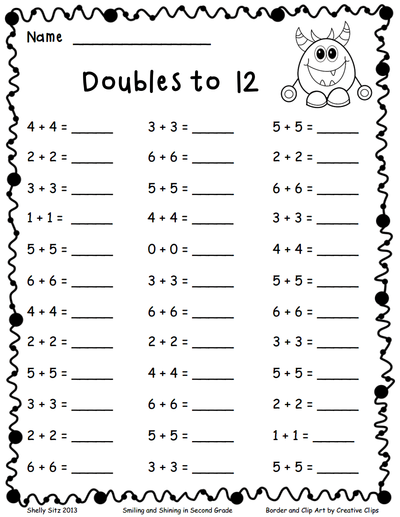 Doubles To 12 Pdf Math Worksheets Samples School And Worksheets Class 2