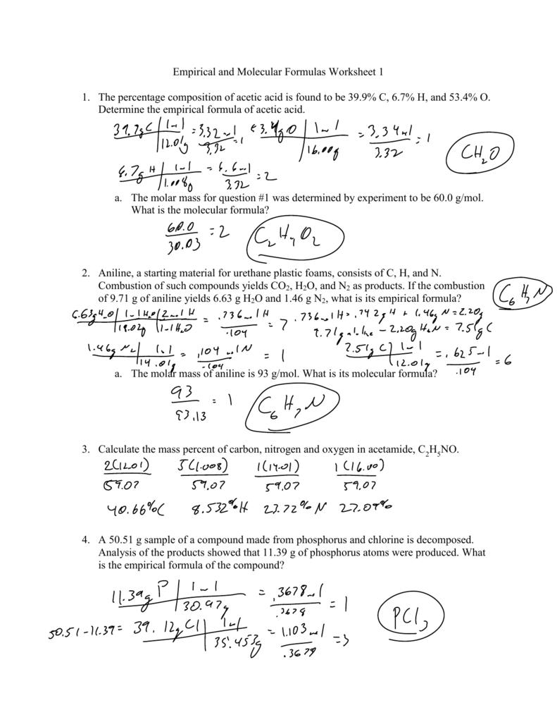 Empirical And Molecular Formulas Worksheet 1 1 The Percentage ...