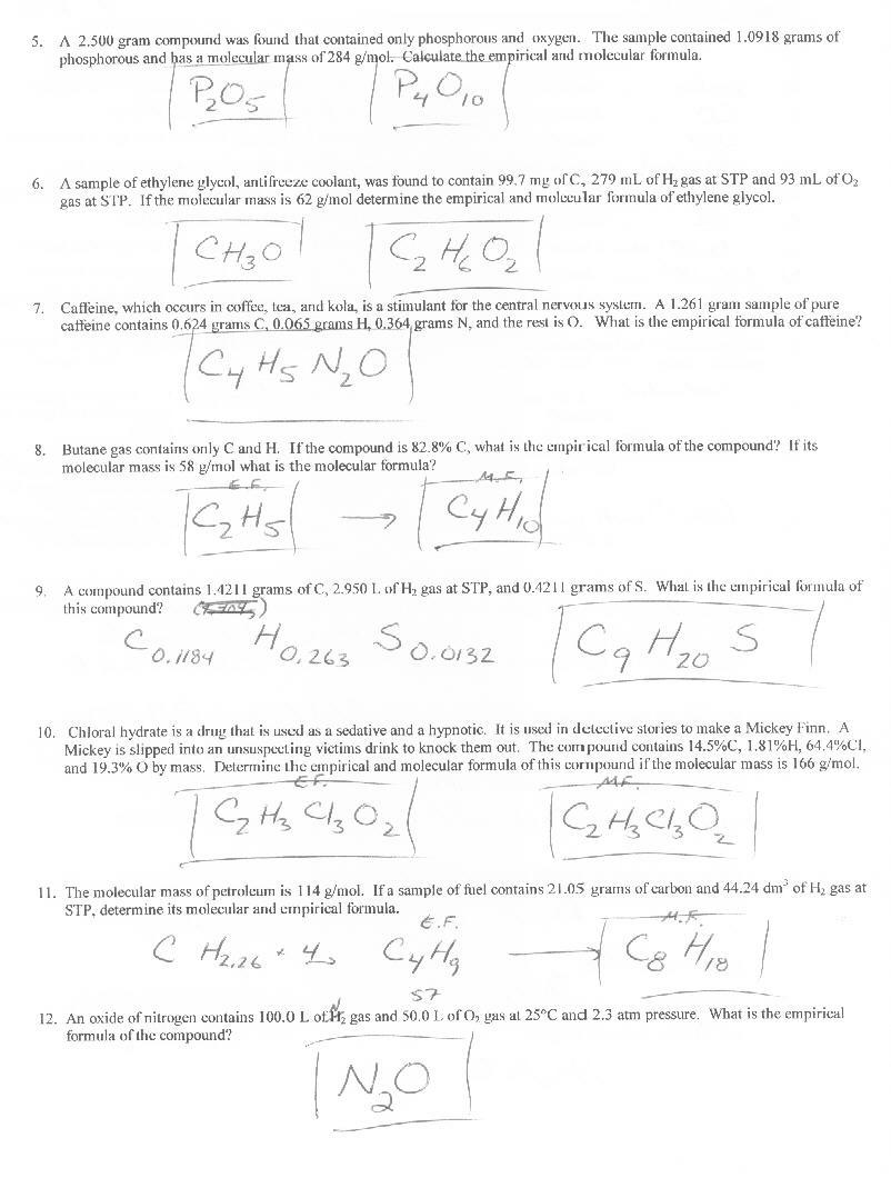 Empirical And Molecular Formula Worksheets Answers