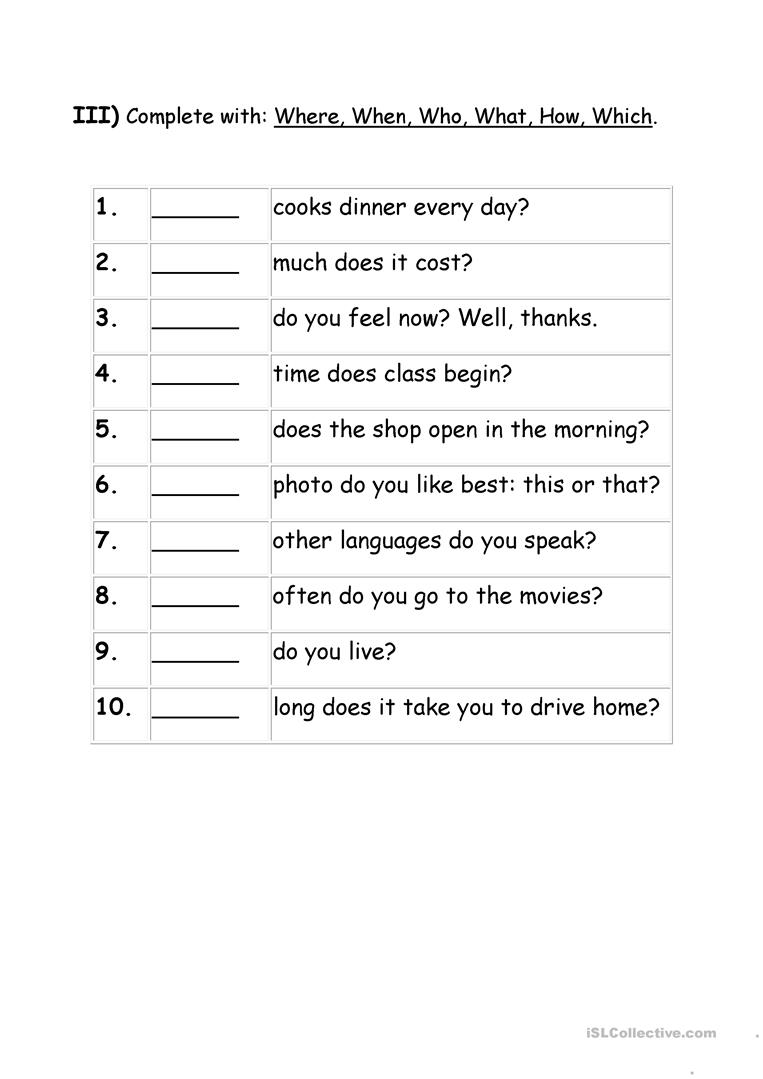 Exercises Wh Question Words Worksheet