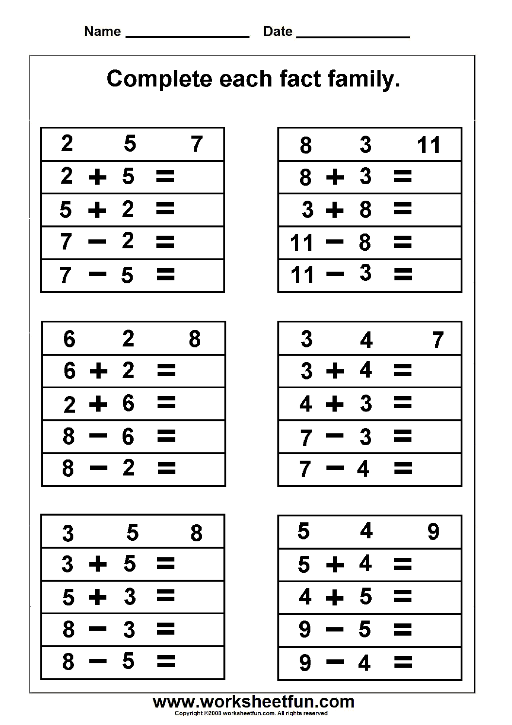 Fact Family – Complete Each Fact Family – 2 Worksheets   Free