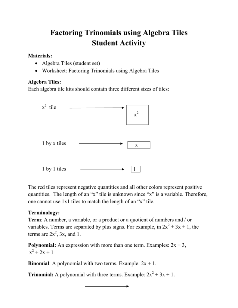Factoring Trinomials Using Algebra Tiles Student