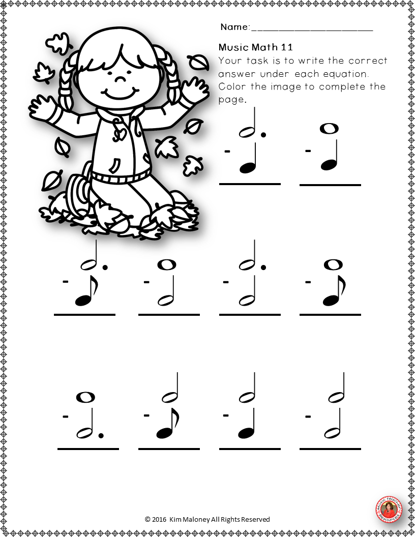 Fall Music Worksheets  24 Music Math Activities With A Fall Autumn