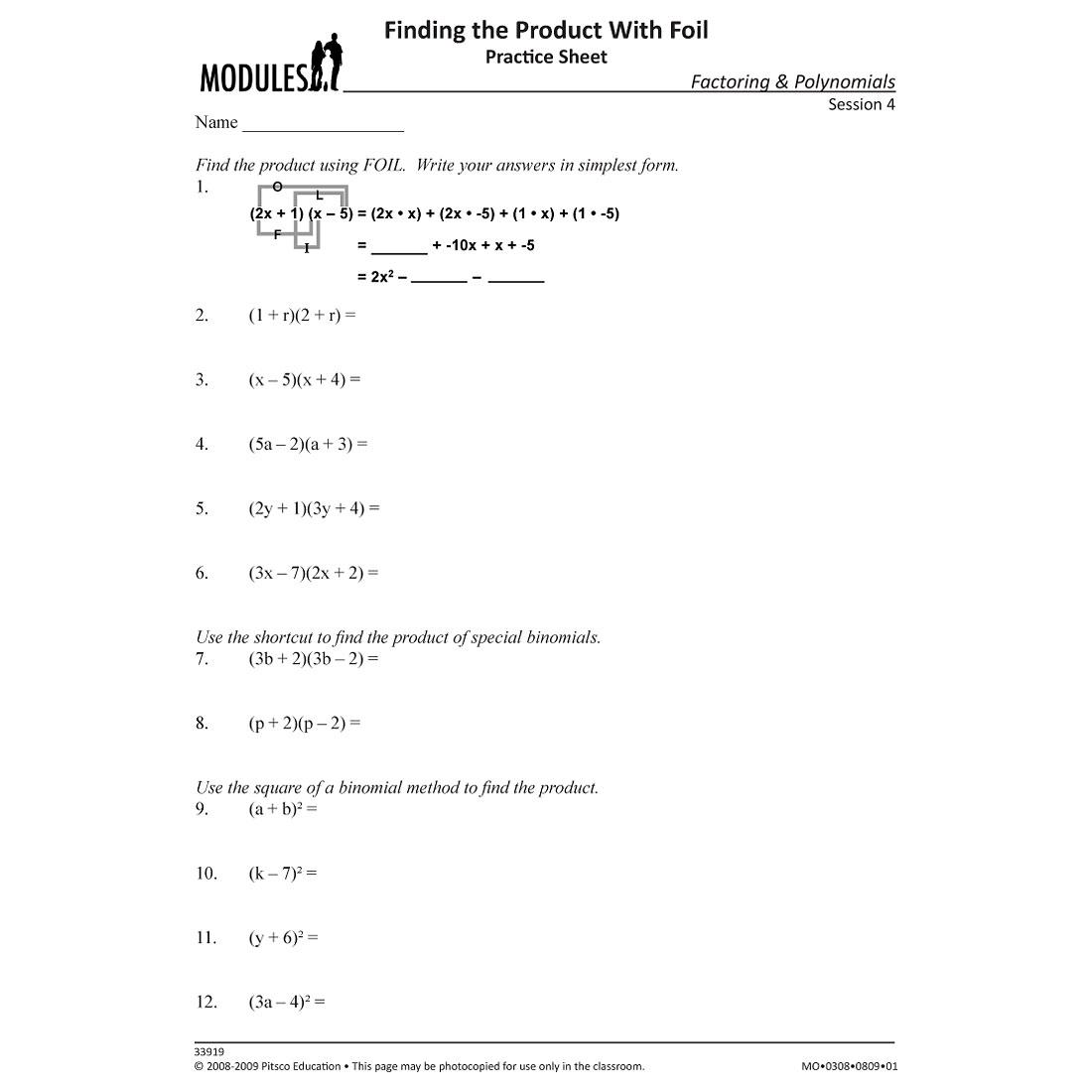 Foil Method Worksheet Free Worksheets Library