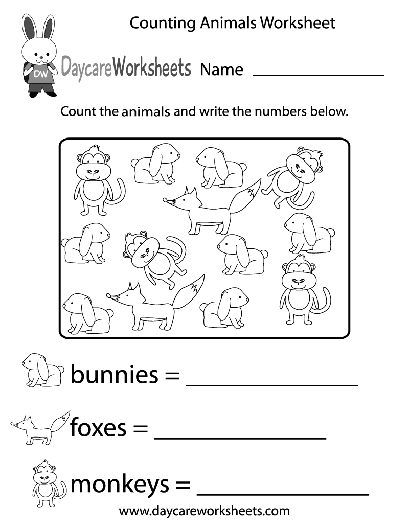 Free Counting Animals Worksheet For Preschool