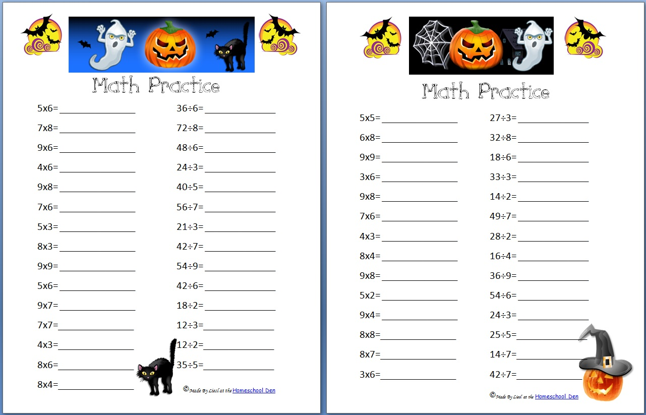 Free Halloween Math Practice Pages  Multiplication, Division, And