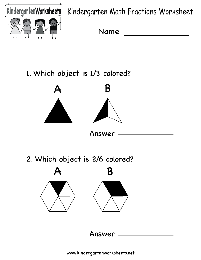 Free Kindergarten Fraction Worksheets