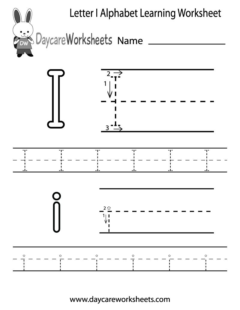 Free Letter I Alphabet Learning Worksheet For Preschool