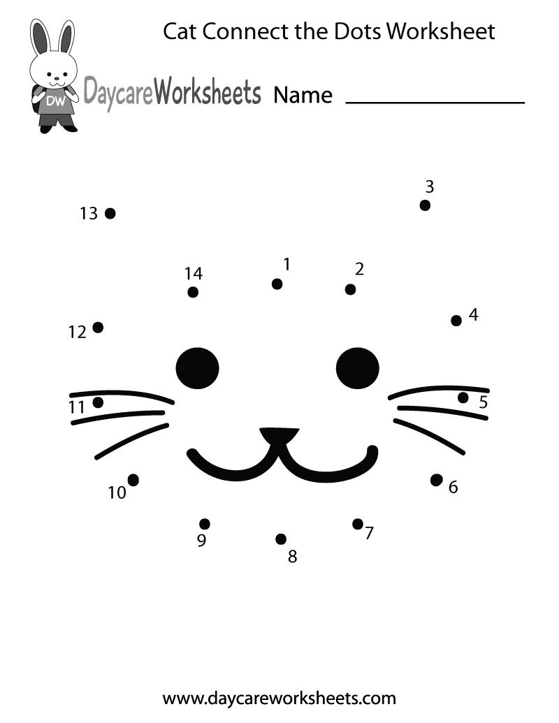 Free Preschool Cat Connect The Dots Worksheet