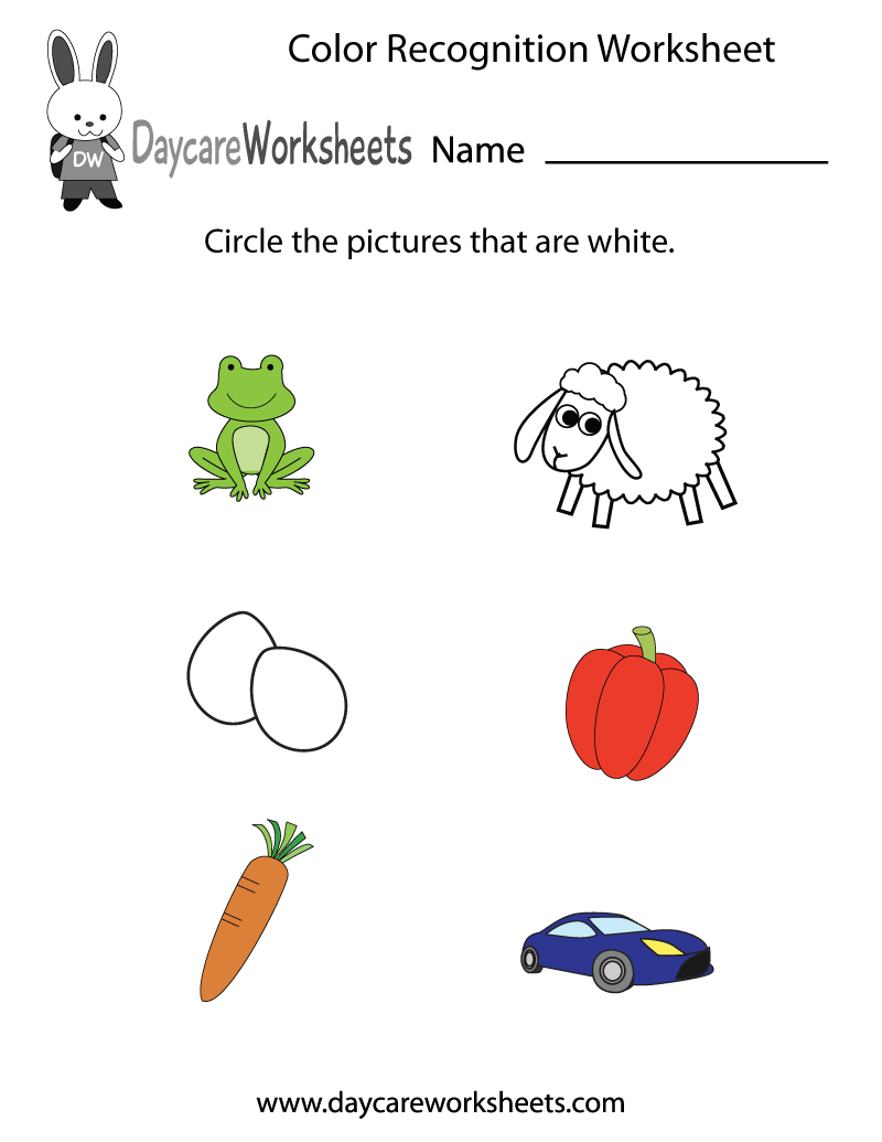 Free Preschool Color Recognition Worksheet