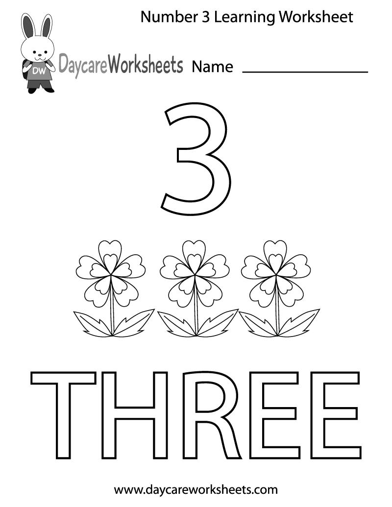 Free Preschool Number Three Learning Worksheet