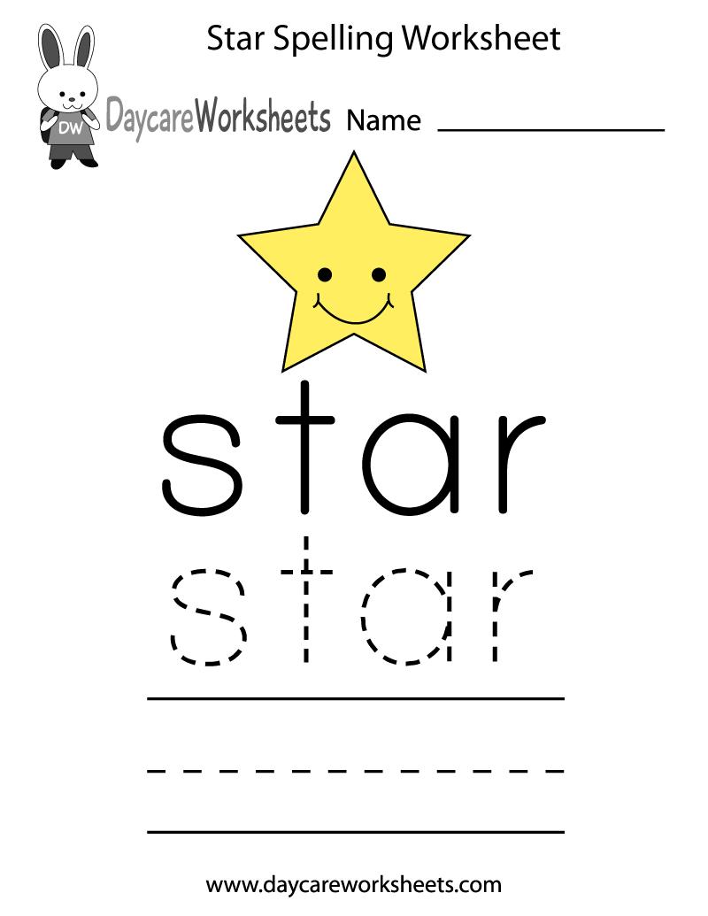 Free Preschool Star Spelling Worksheet