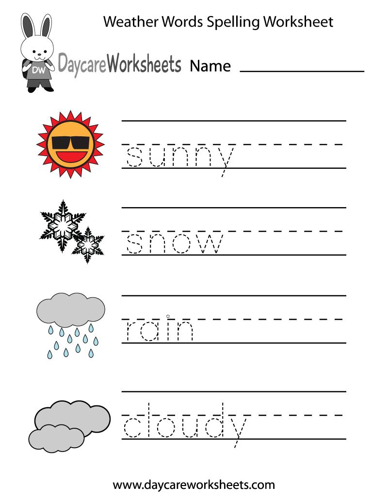 Free Preschool Weather Words Spelling Worksheet