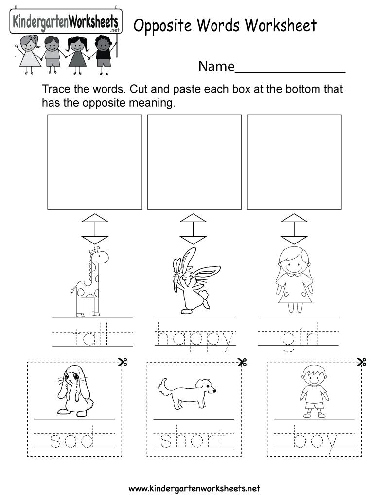 Free Printable Opposite Words Worksheet For Kids For Kindergarten