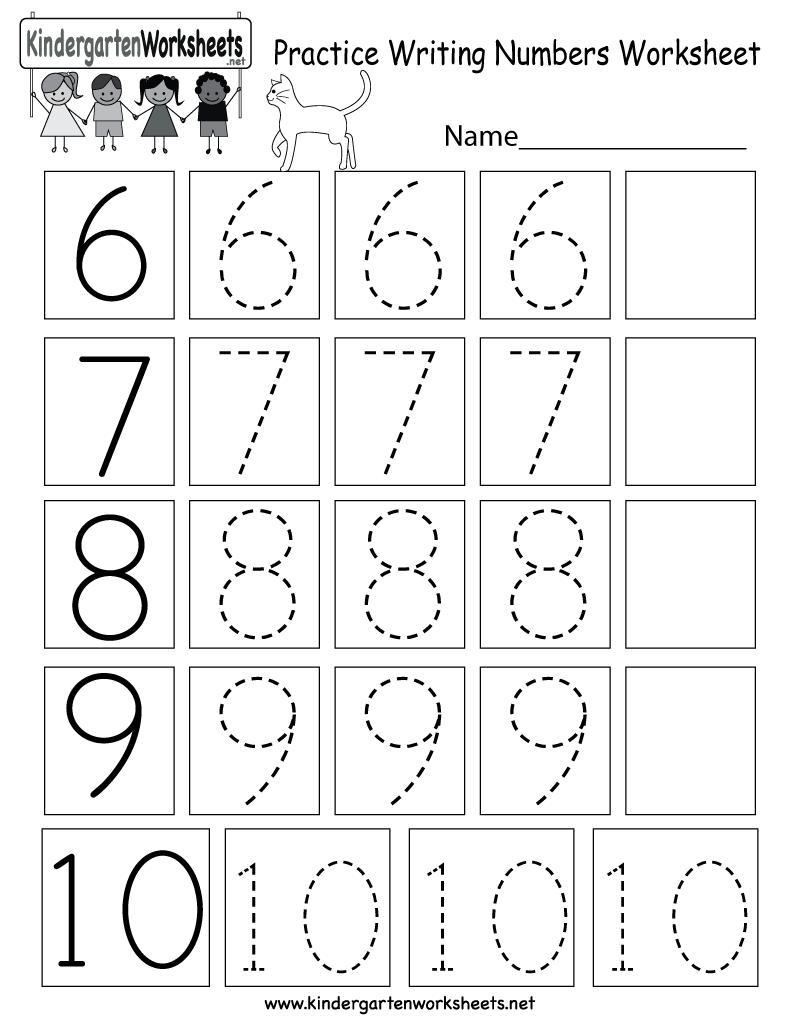 Free Printable Practice Writing Numbers Worksheet For Kindergarten