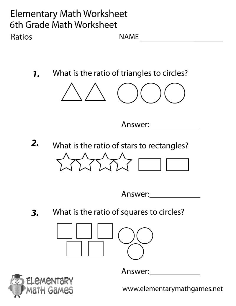 Free Printable Ratios Worksheet For Sixth Grade