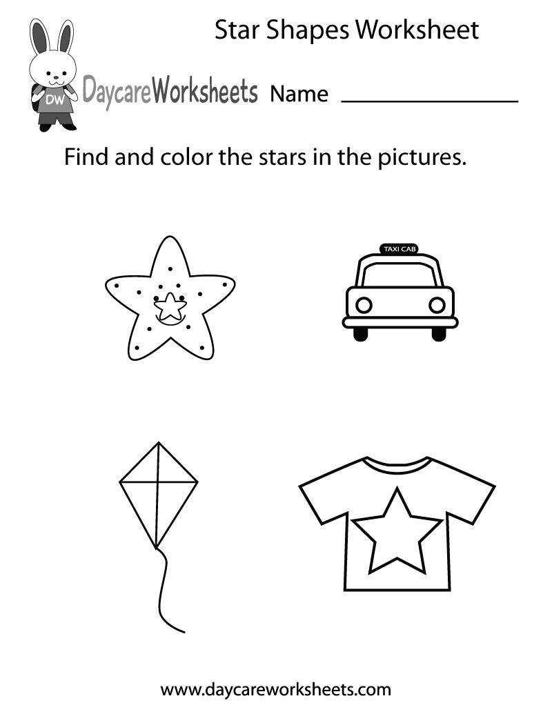 Free Star Shapes Worksheet For Preschool