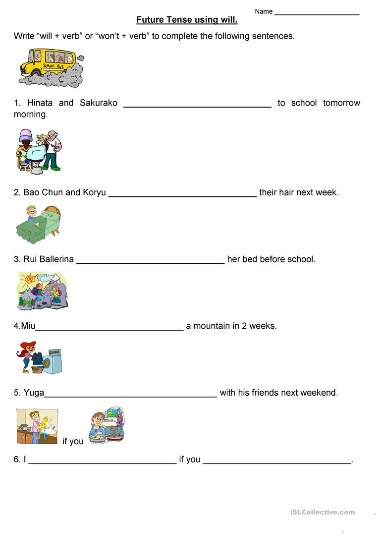 Future Tense Using 'will' Worksheet