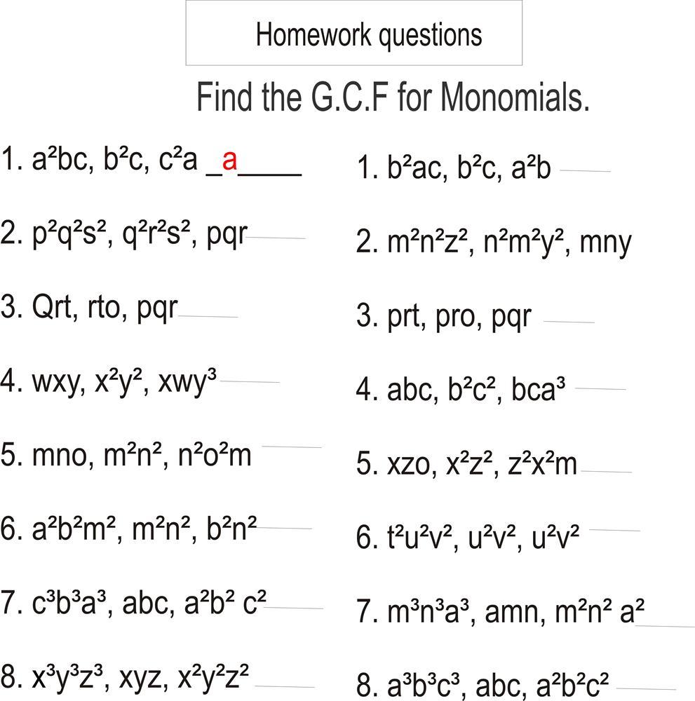 Greatest Common Factor Homework Questions Monomials