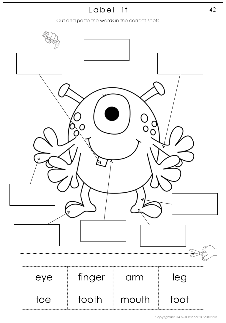 Identification Worksheets Kid Worksheet Human Body Parts With