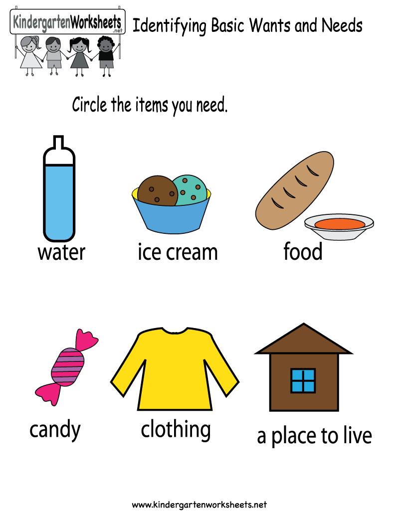 Identifying Basic Wants And Needs Worksheet