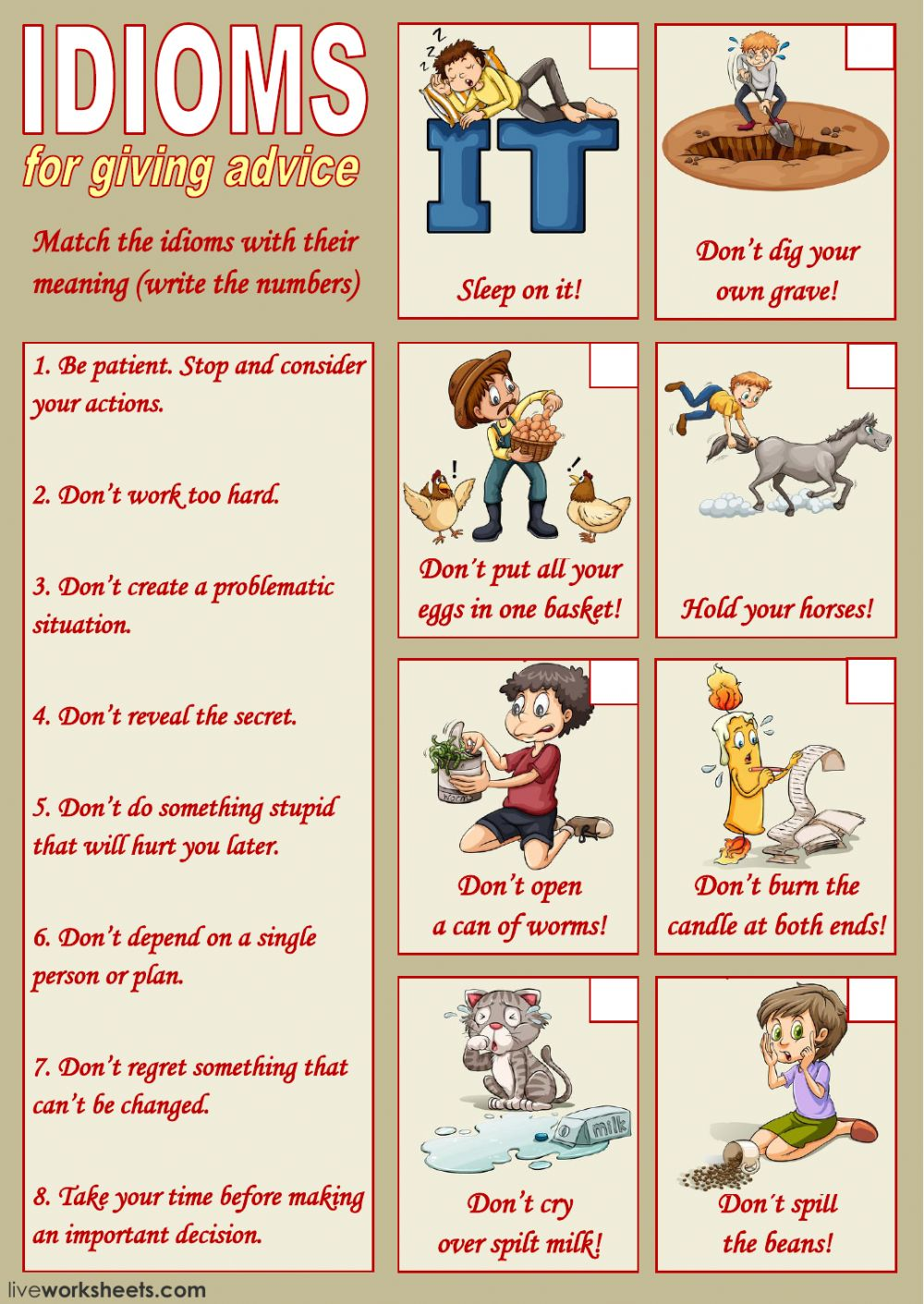 Idioms For Giving Advice 1