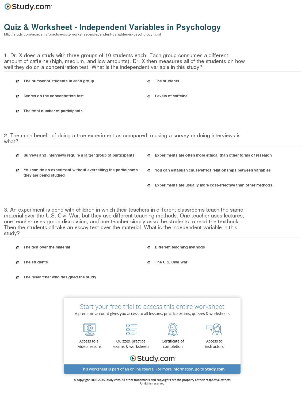 Independent And Dependent Variables Worksheets Free Worksheets