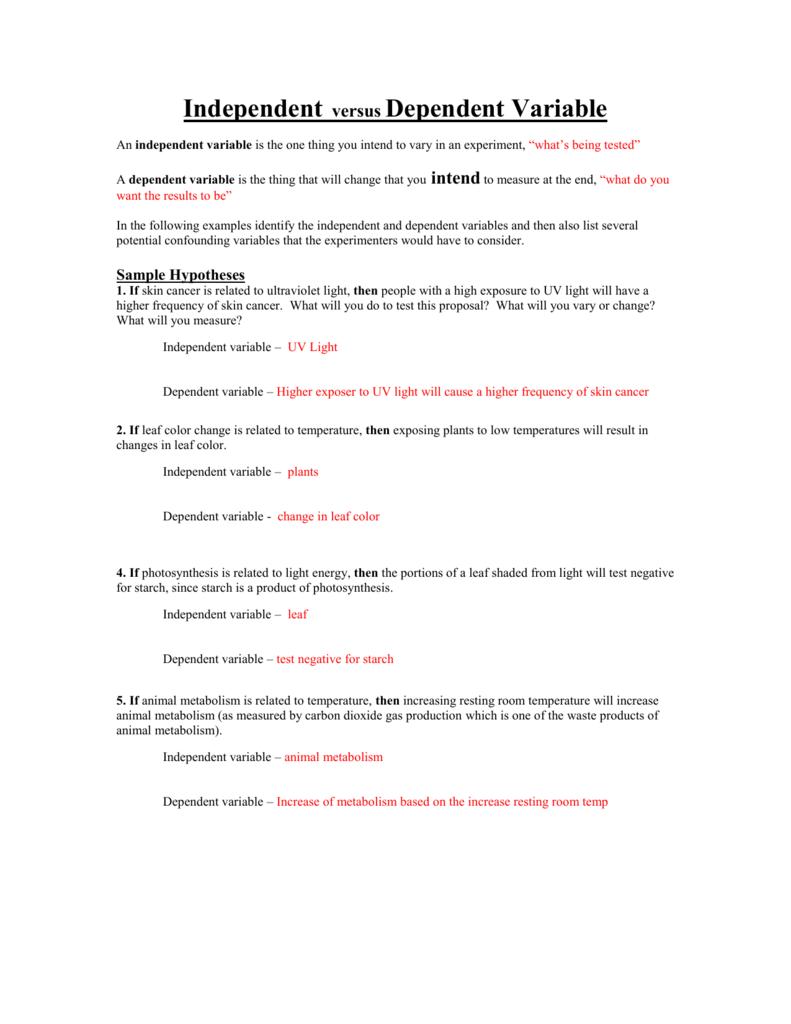Independent Dependent Variable Worksheet