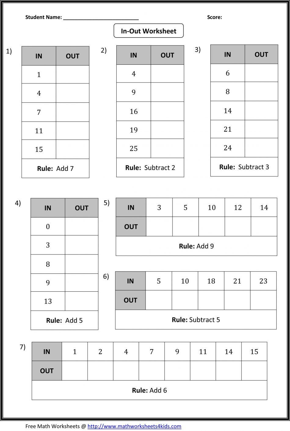Input Output Machine Worksheet Workshee Math Tables Worksheets