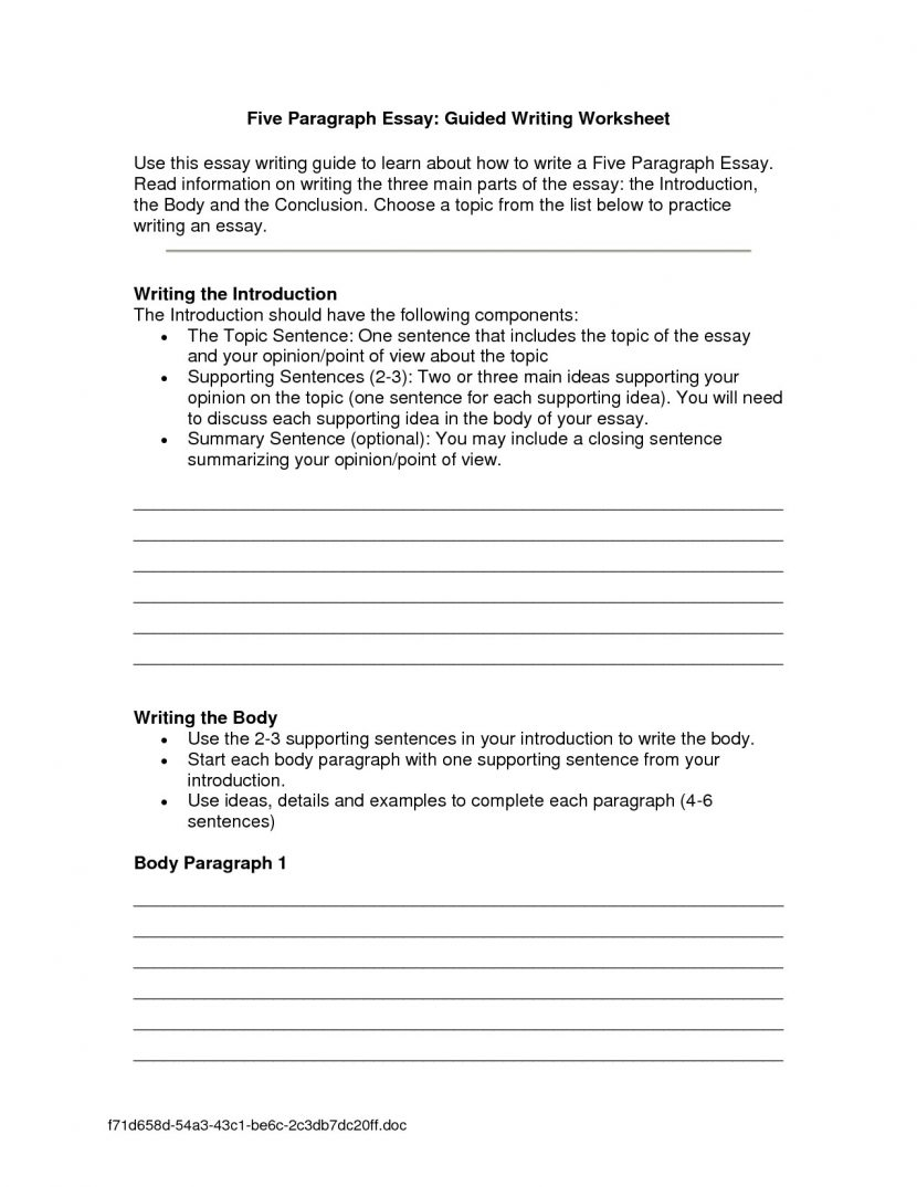 Introduction Paragraph Worksheet Worksheets How To Write A For