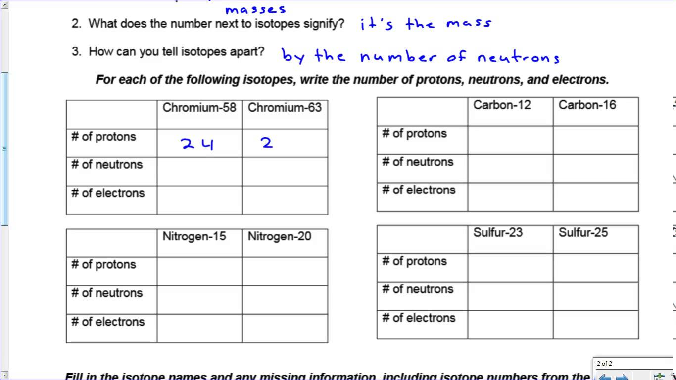 Ion & Isotope Practice Key