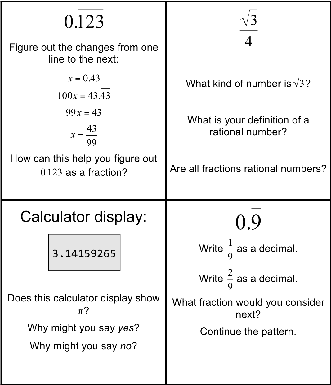 Irrational And Rational Numbers Worksheets Worksheets