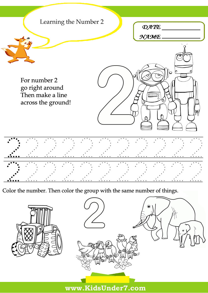 Kids Under 7  Free Printable Kindergarten Number Worksheets
