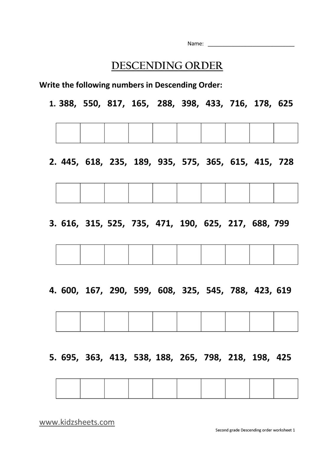 Kidz Worksheets  Second Grade Descending Order Worksheet1