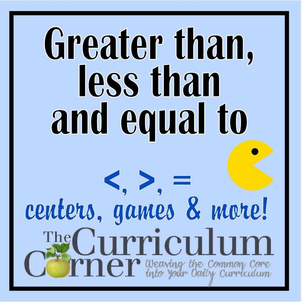 Kindergarten Comparing Numbers The Curriculum Corner 123 Greater