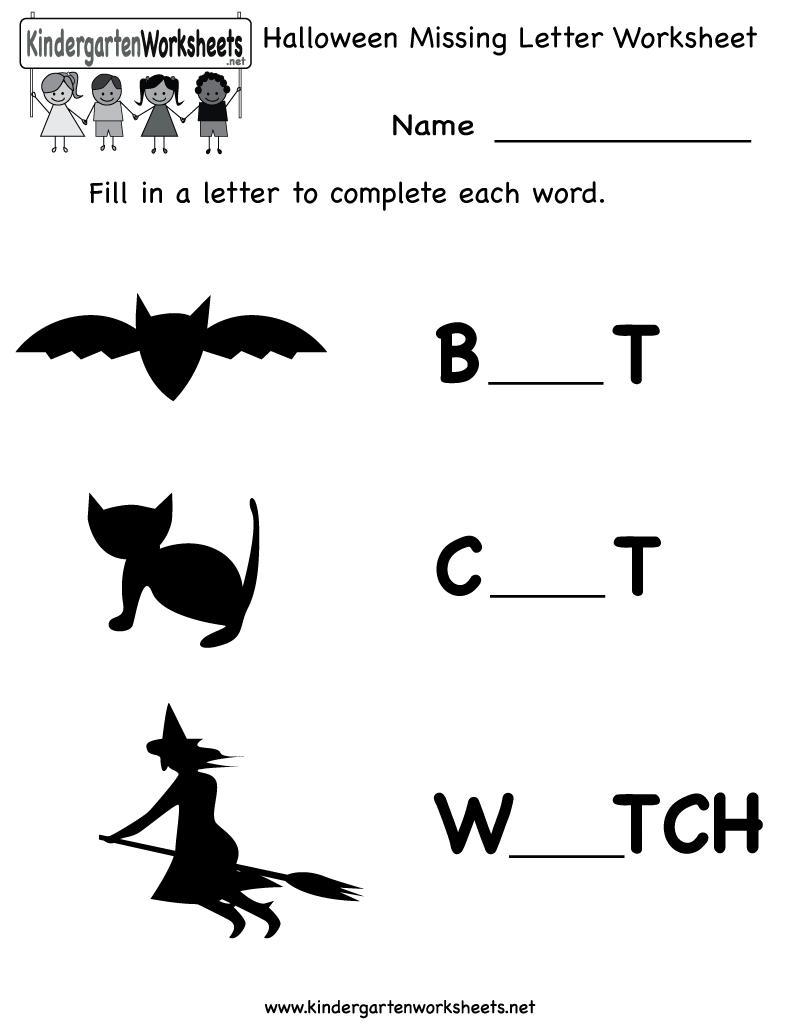 Kindergarten Halloween Missing Letter Worksheet Printable