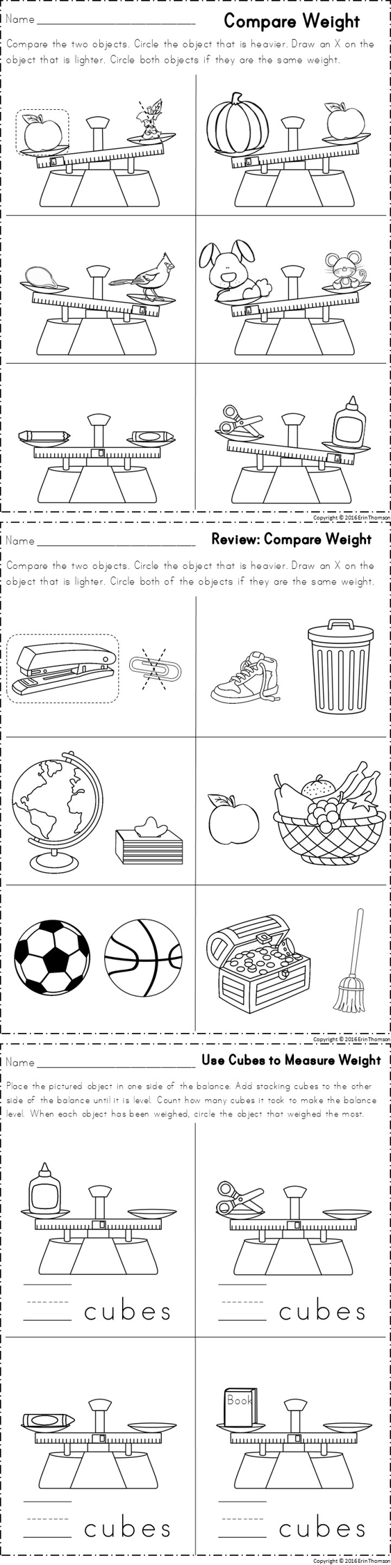 Kindergarten Math ~ Measurement – Worksheets Samples